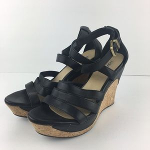 UGG Dillion Platform Wedge Sandals in Black